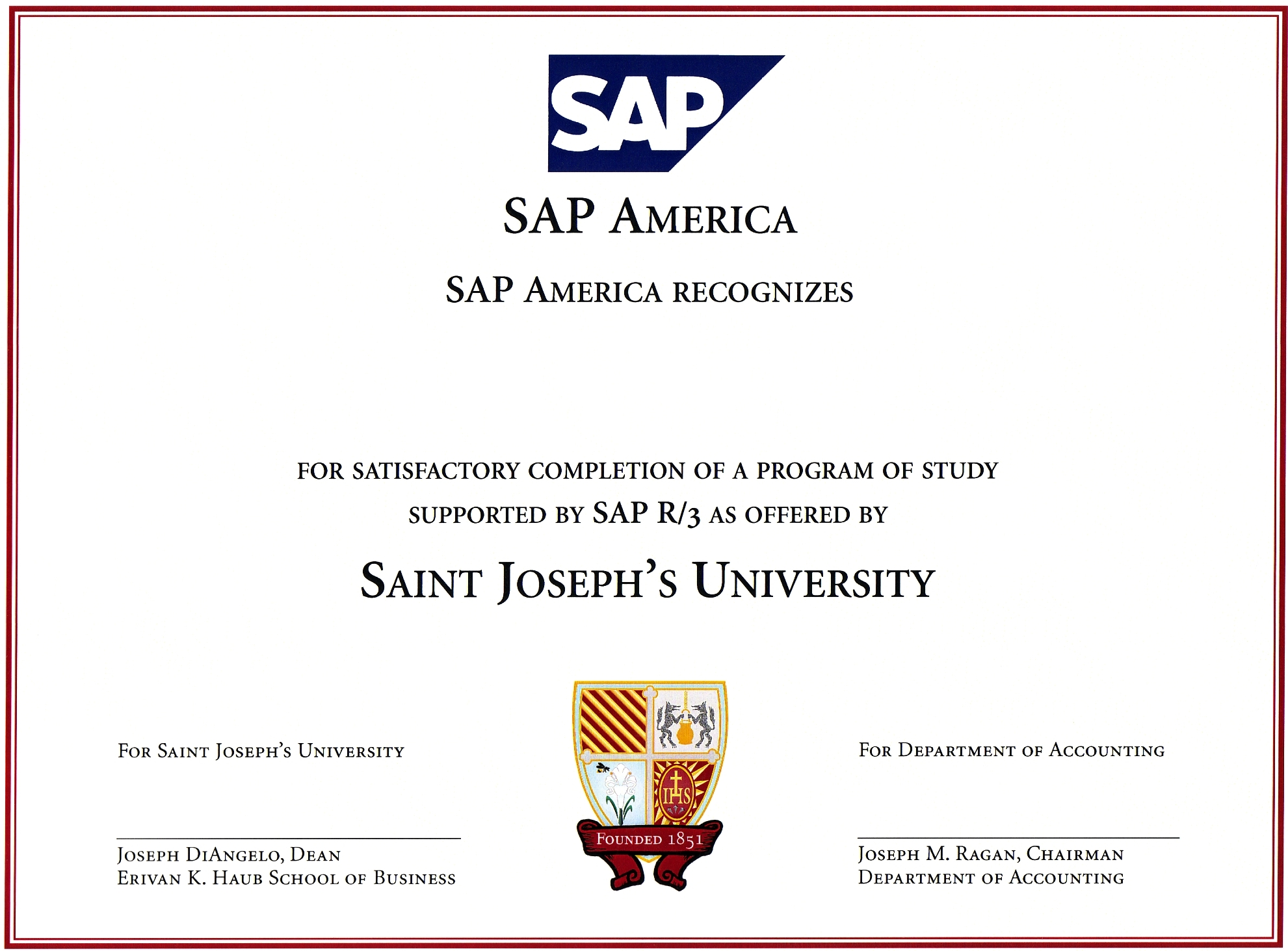 Certificate department of accounting saint josephs university upon completion of their accounting program students are awarded a certificate of competency in sap r3 xflitez Gallery