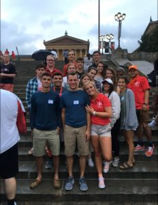 Group photo of incoming freshman on the steps outside the Philadelphia Museum of Art