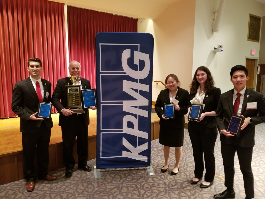 Congratulations to the Temple University Team, who won the competition! From left to right are: Nick DiSciullo, Dave Jones (advisor), Eliana Yi, Courtney Sabanas, Bryan Huang