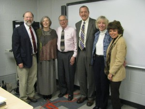 Pictured (left to right) are members of the Hearing Impaired K-12 planning committee: Mr. William Hudson (Adjunct Faculty), Ms. Susan Lindsey (Adjunct Faculty), Mr. Joseph Fischgrund (Adjunct Faculty), Dr. Sam Slike (Director, Special Education Online Programs), Dr. Cathleen Spinelli (Chair, Special Education Department), Dr. Joan Evans (Adjunct Faculty)