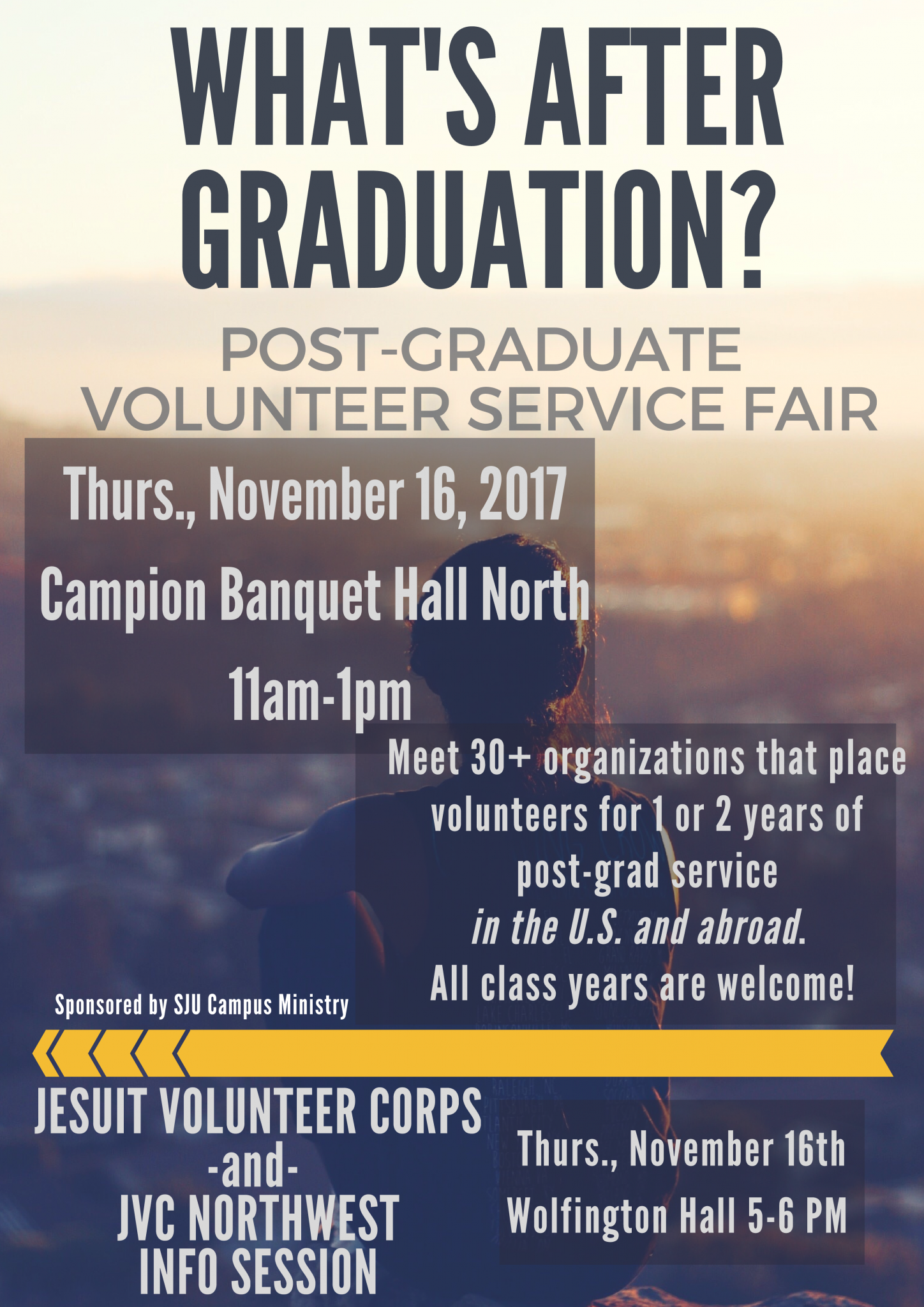 Info about post grad volunteer service fair and JVC Info Session