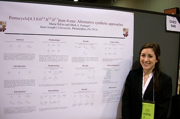 Above: Senior chemistry major Maria DiFeo and her poster at the ACS meeting