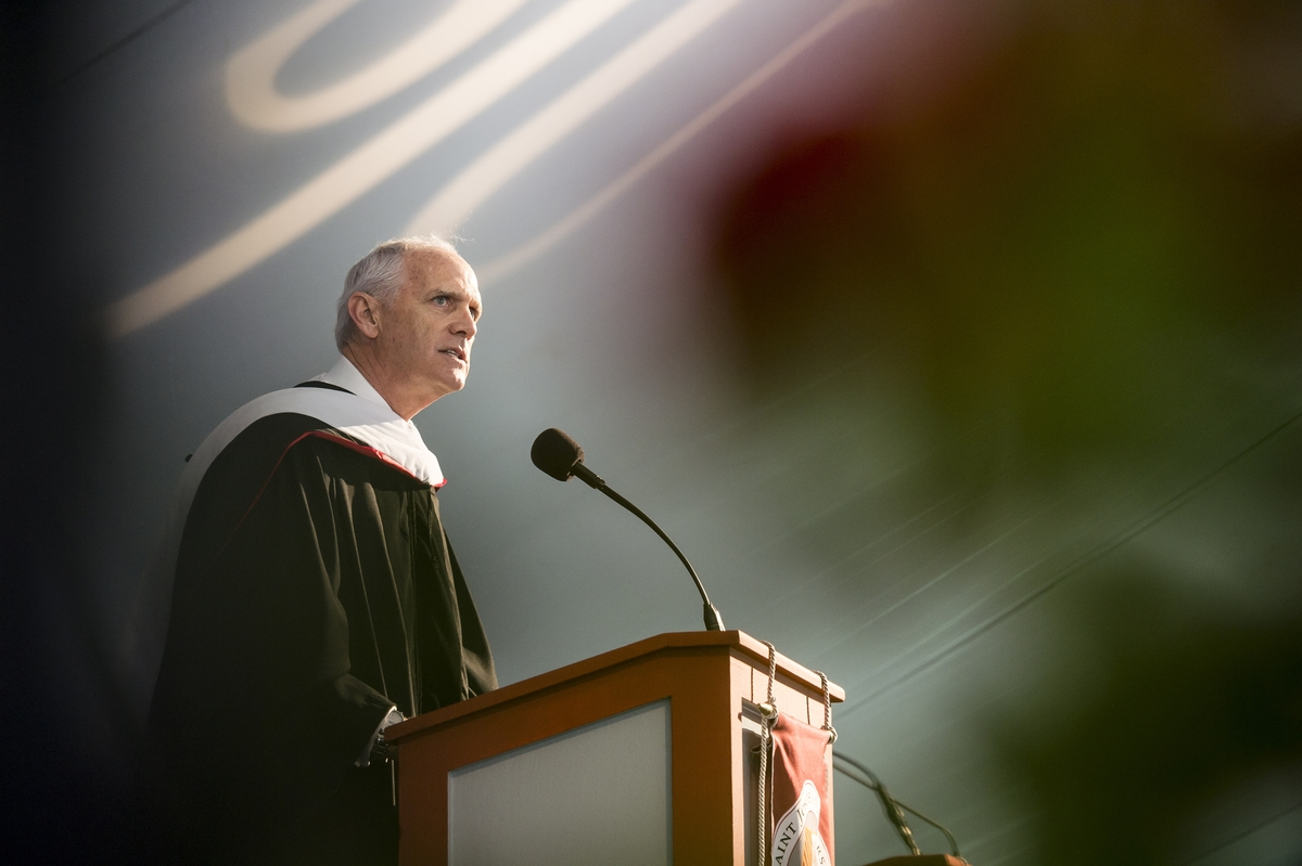 Daniel J. Hilferty III '78 speaks at the Saint Joseph's University Class of 2016 Commencement. photo by Melissa Kelly