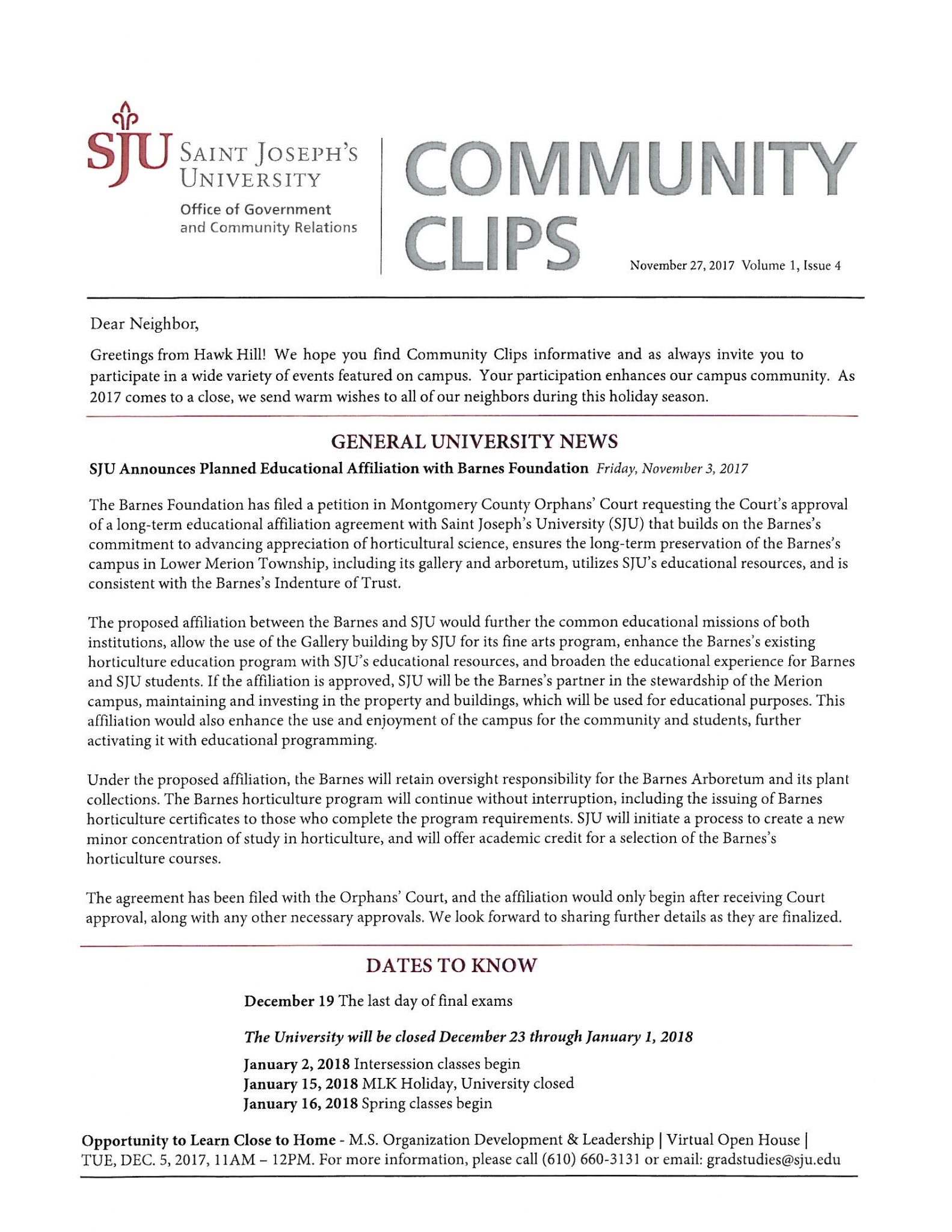 November 2017 Newsletter Government And Community Relations