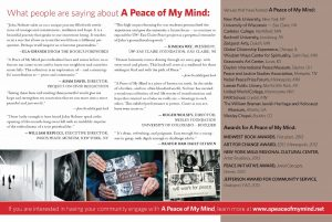 A PEACE OF MY MIND POSTCARD
