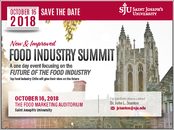 Save the date flyer for the Food Industry Summit 2018