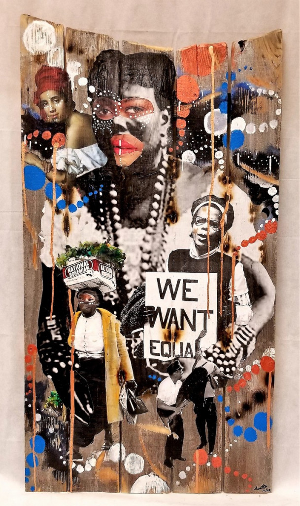 Your Blues Ain't Like Mine,  2019, 48 x 24 ″ Mixed Media/Collage on reclaimed wood