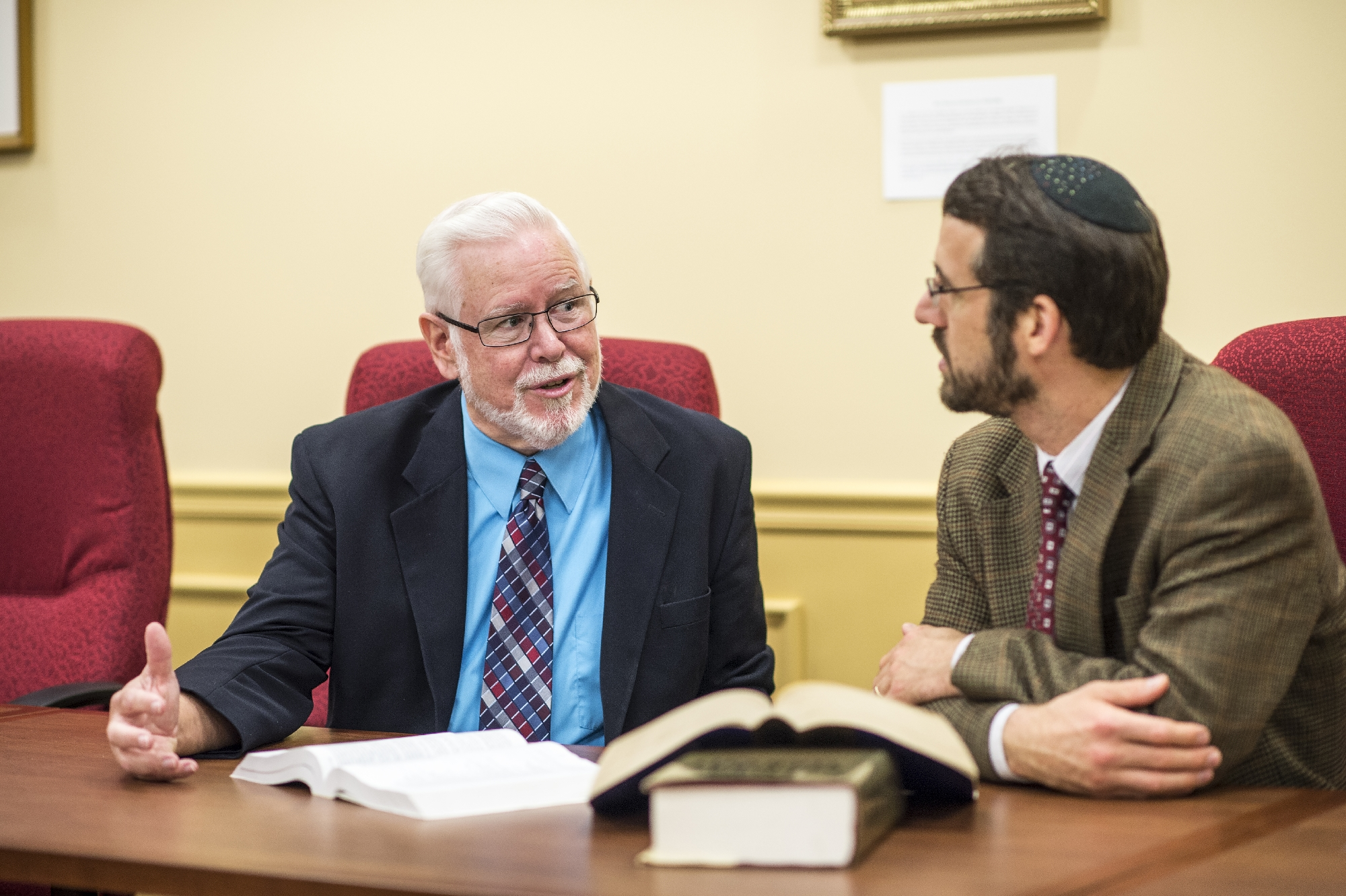 Philip Cunningham and Adam Gregerman at a regular study session.