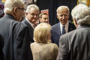 Joe Biden speaks with guests.