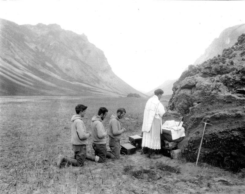 Father Hubbard celebrating mass in the crater of Aniakchak, 1931