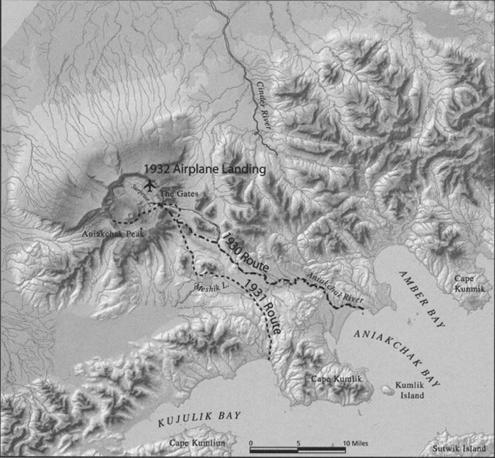 Map of Father Hubbard's  three early expeditions into the region around the Aniakchak volcano on the Aleutian Range of south-western Alaska.  1930 and 1931 routes are by dogsled, 1932 by plane.