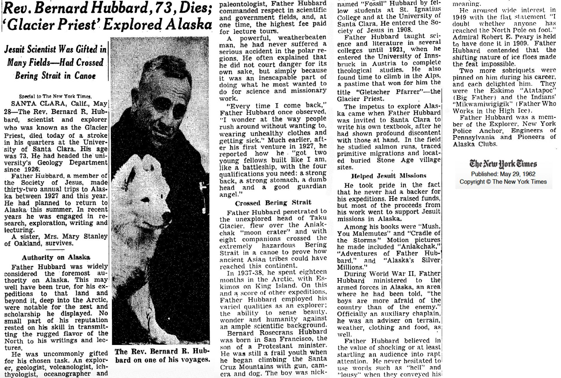 May 29, 1962 obituary of Father Hubbard, New York Times
