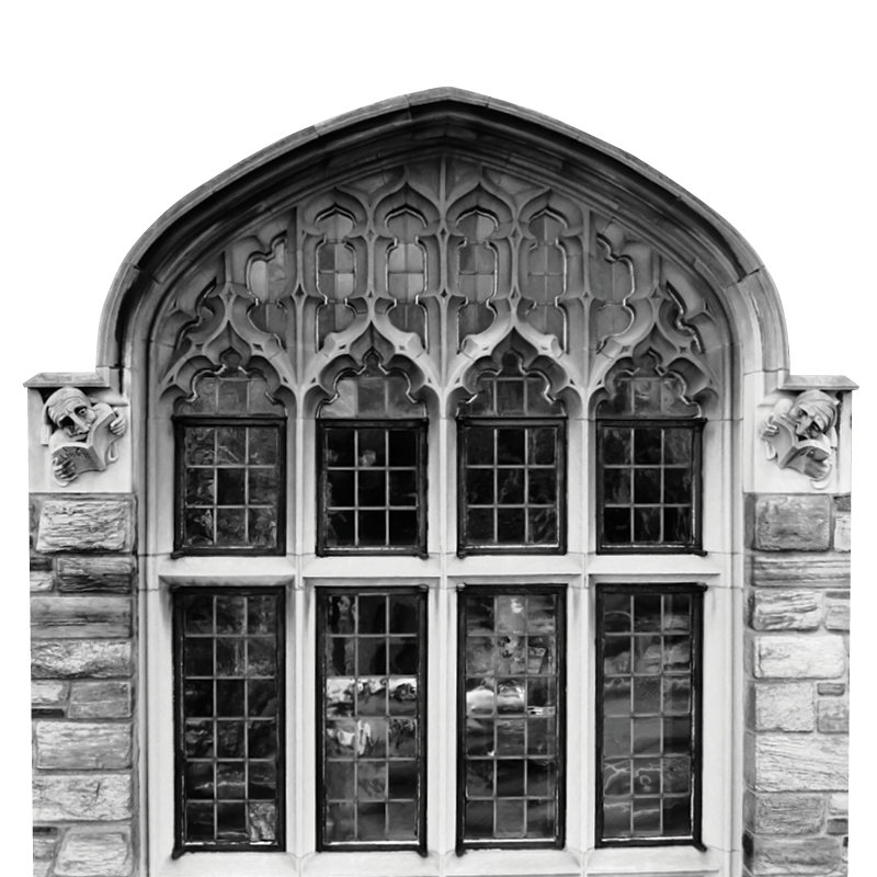Ex Libris Grotesques: On the City Avenue side of the building, flanking the west neo-Gothic tracery-window on the second floor, are two literate grotesques, creatures reading books inscribed with the words Ex Libris (from the library of). There was no mistaking the location of  the library within.