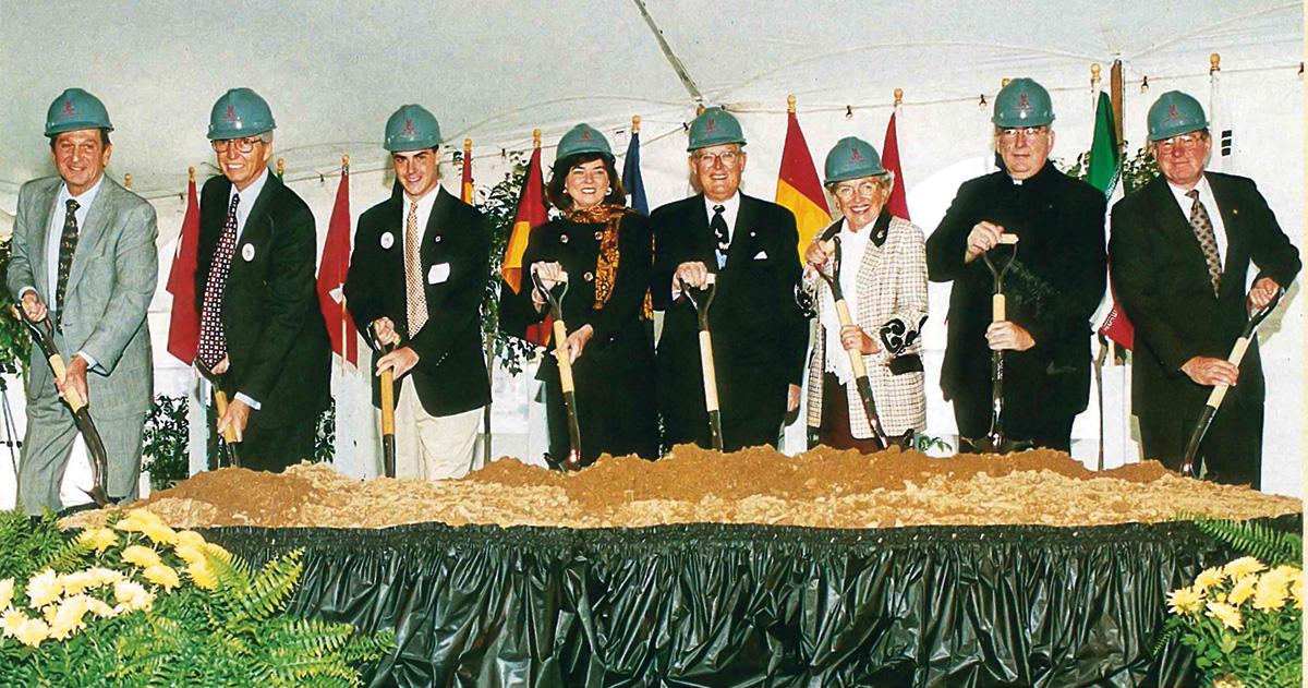 From left: Hon Thomas M. Foglietta '49 (deceased), J. Eustace Wolfington '56, Joseph Sullivan '97, Emily C. Riley, Erivan K. Haub, Helga Haub, Nicholas S. Rashford, S.J., and Edward F. McCauley '61 at the groundbreaking ceremony for Campaign 21.