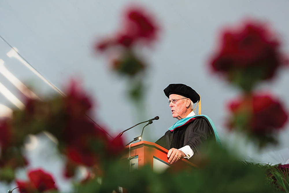 Honorary degree recipient James Maguire gives the 2014 commencement address.