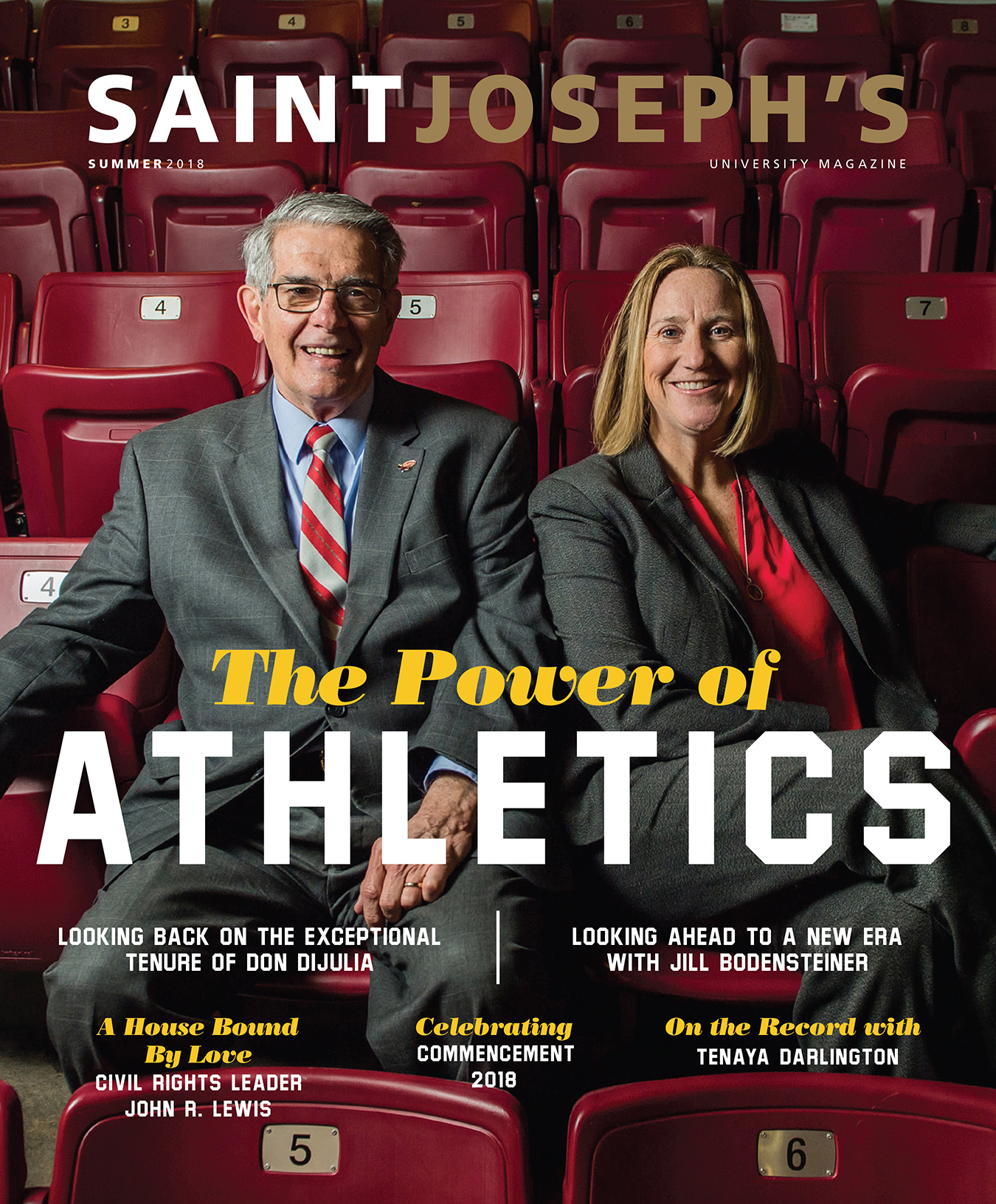 SJU Summer 2018 magazine cover with Don DiJulia and Jill Bodensteiner in stadium seats