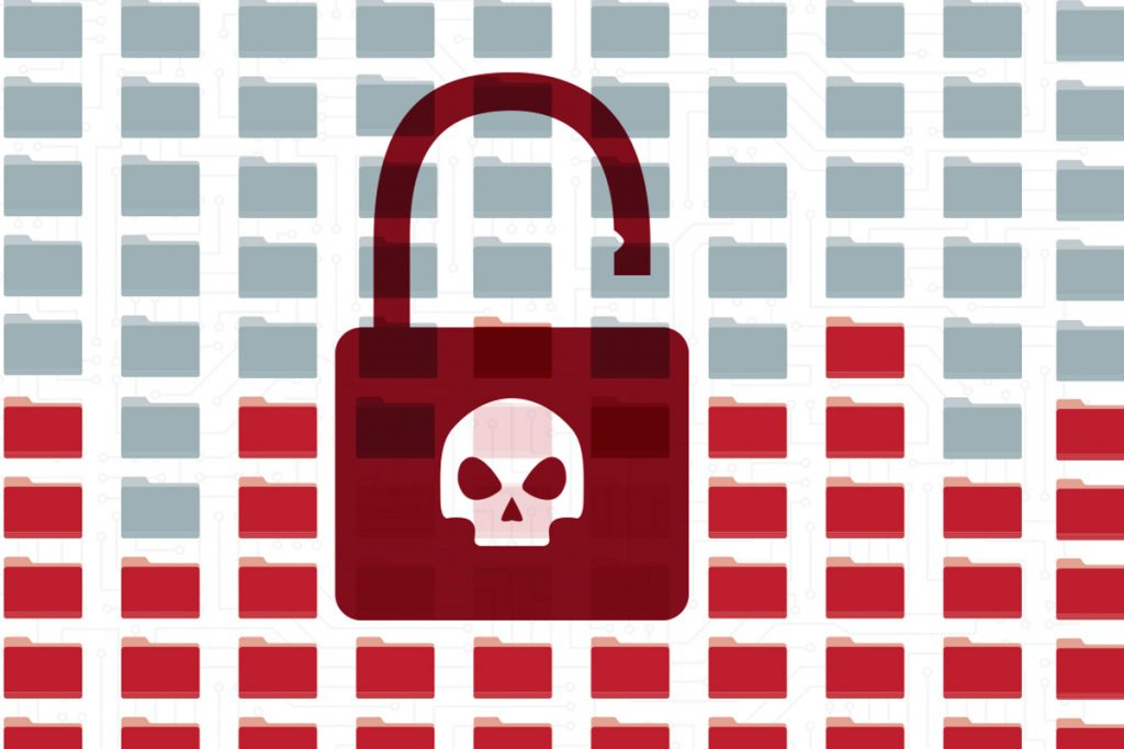 red lock with menacing skull over computer file folders