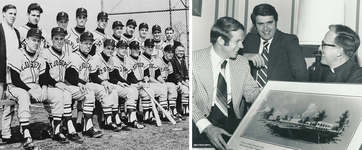 1968 SJU baseball team is featured on the left. On the right, DiJulia review the proposal rendering in 1979.