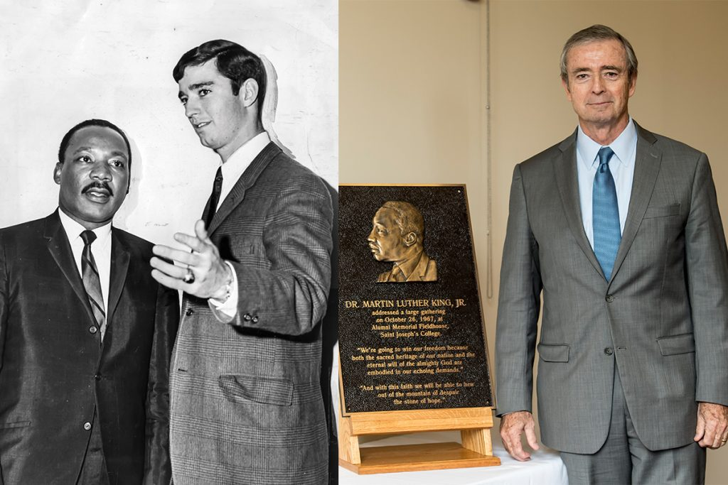 Left: Mingle and King, 1967; right: Mingle with a plaque commemorating King's campus visit in Hagan Arena 2018.