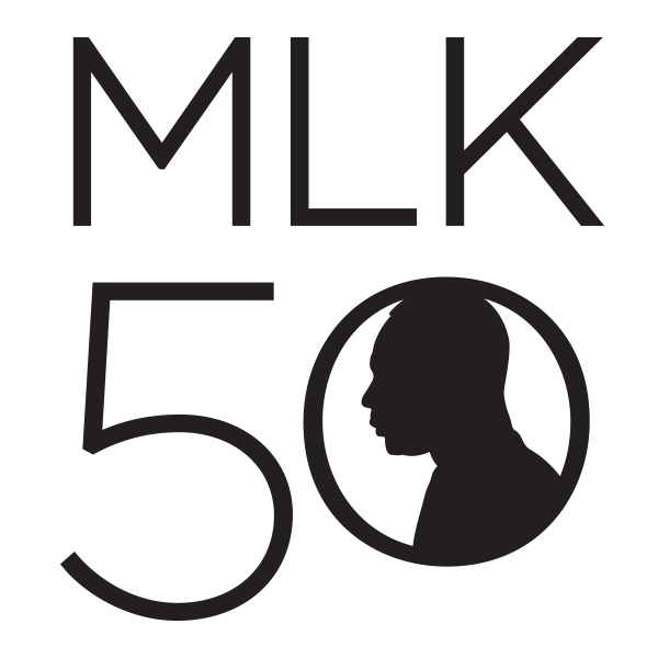 logo of MLK 50 with silhouette of MLK head