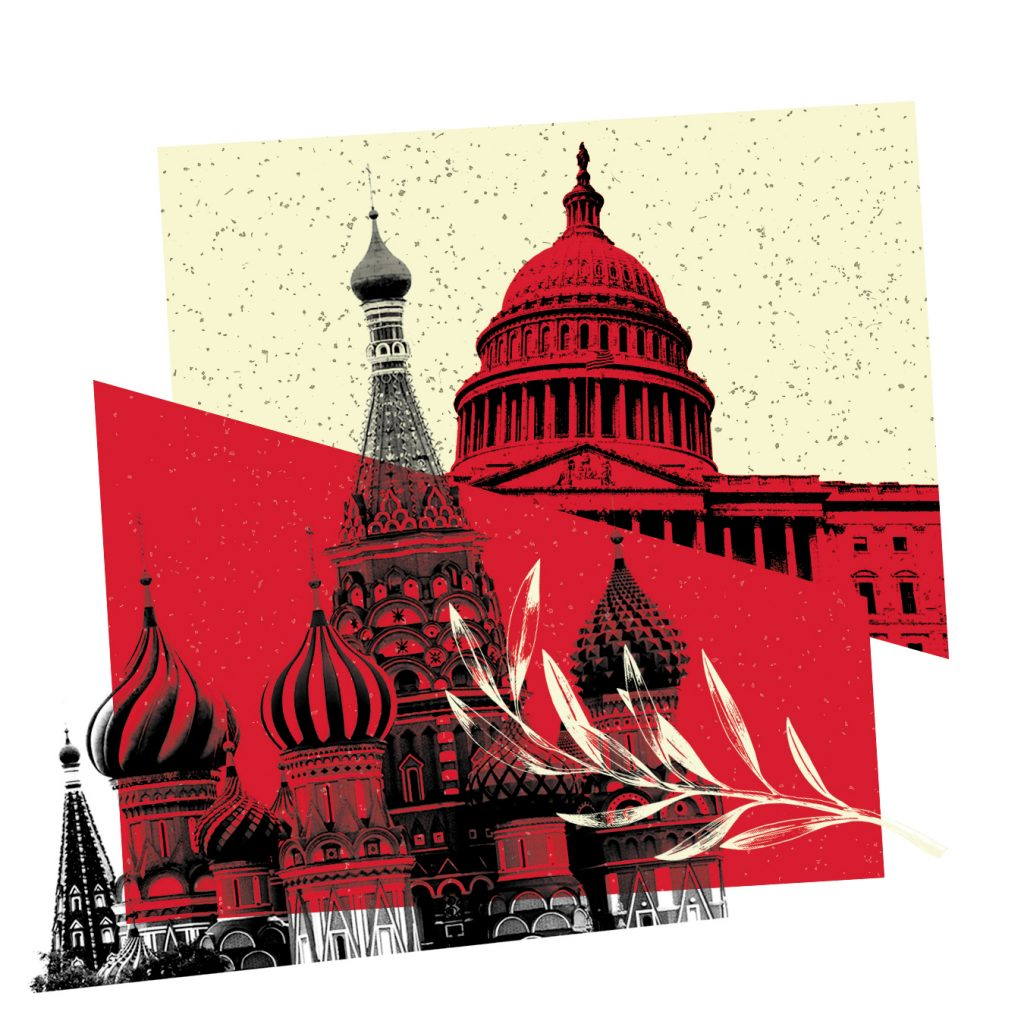 An illustration of Russia's Kremlin and the U.S. Capitol.