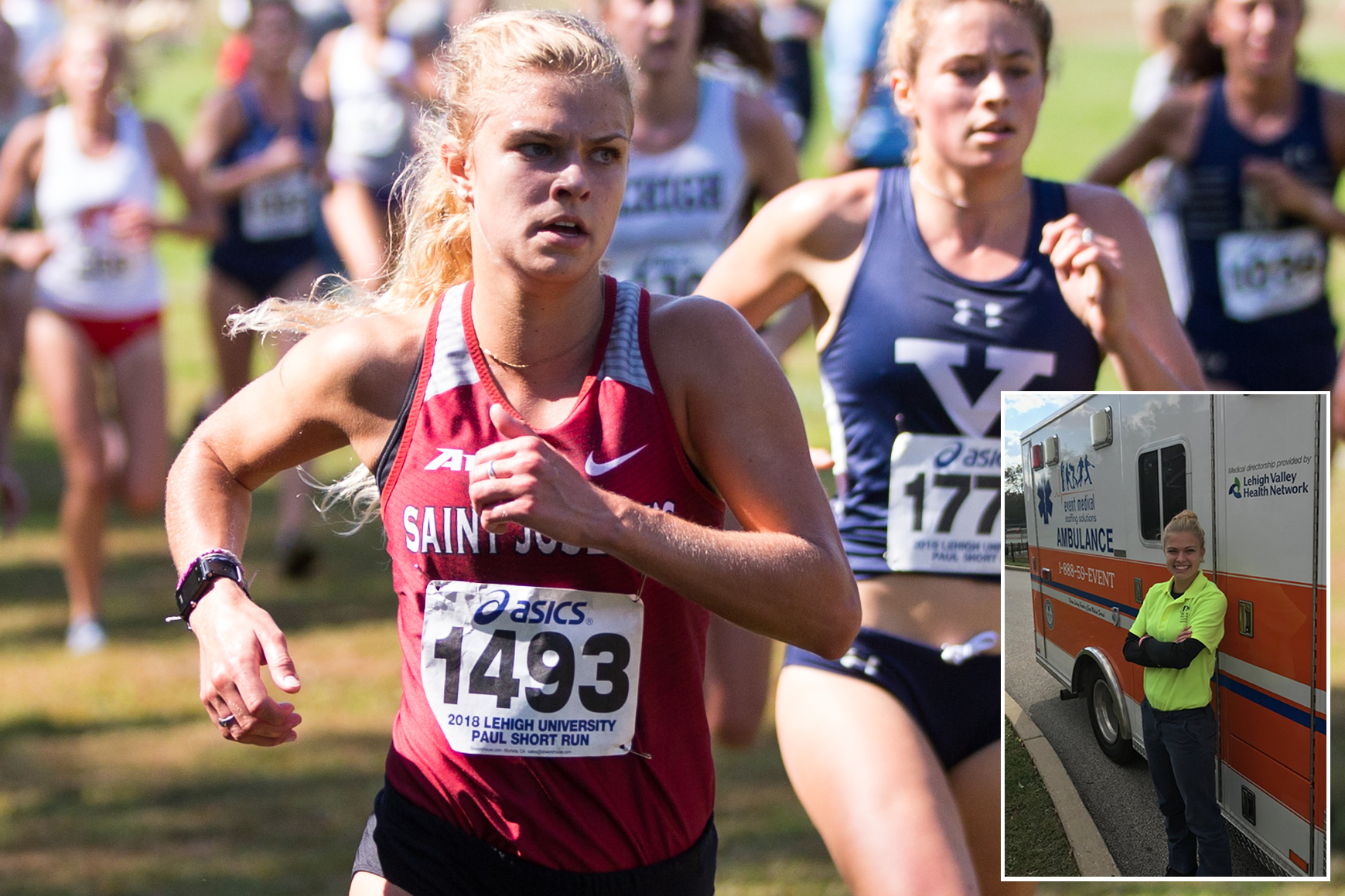 Lindsey Oremus runs cross country. In an inset photo, she is dressed in an EMT uniform, leaning against an ambulance.
