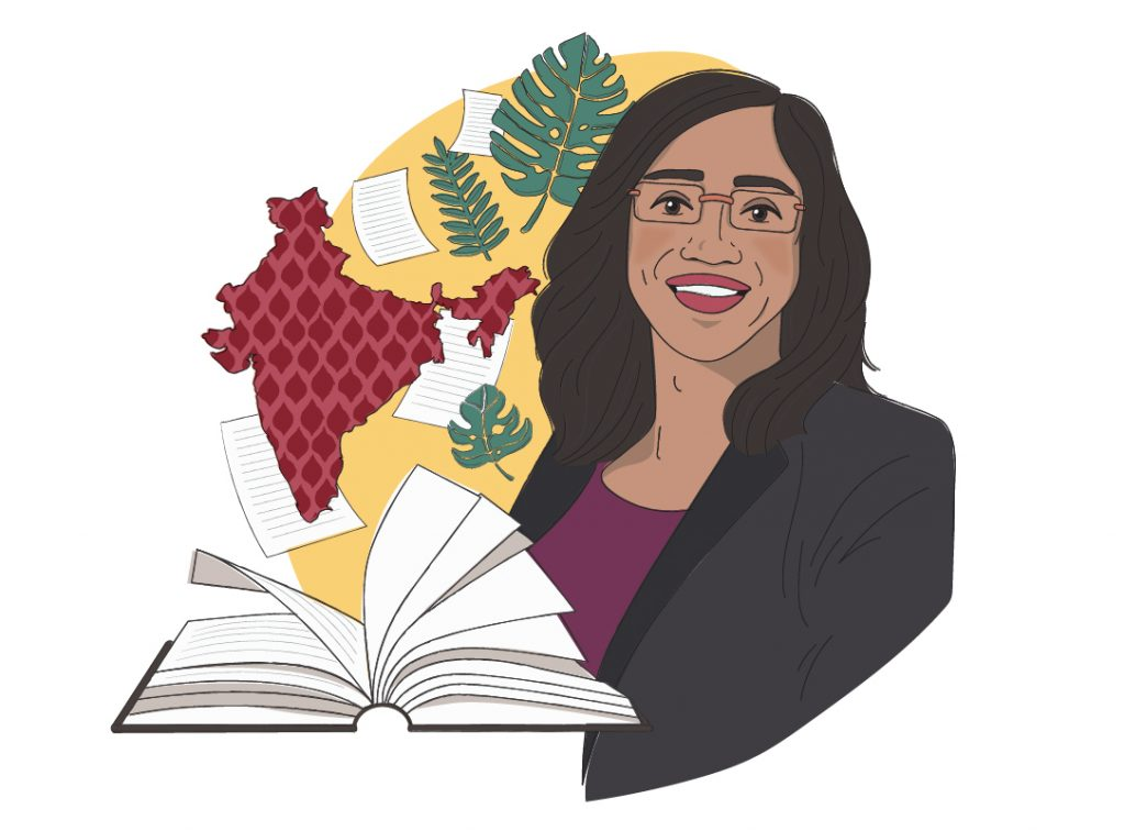 An illustration of Shaily Menon, with images that relate to her story: a book and the country of India.