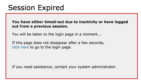 session expired error