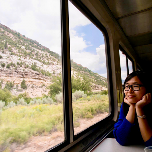 Wei Cai is staring out of the window of a train passing some vegetation. She is wearing a blue top and glasses.