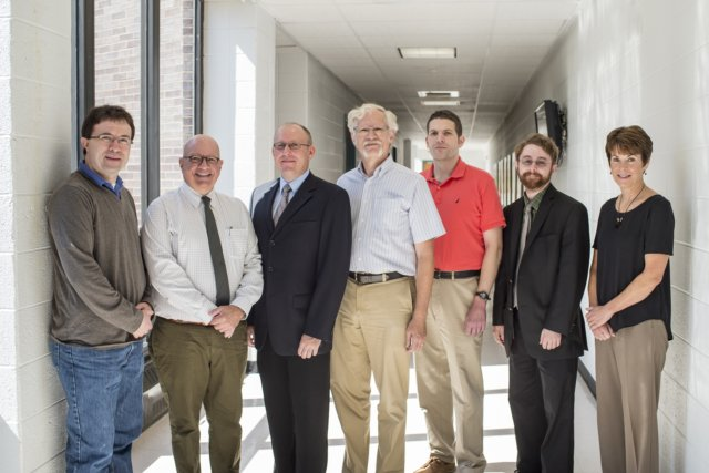 Department of Physics faculty and staff, from left to right: Jesse Goldman, Paul Angiolillo, Piotr Habdas, Douglas Kurtze, Alexander Urban, Brian Forster, Donna Comly.