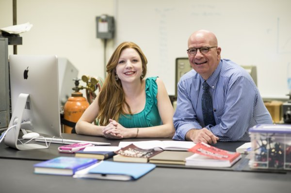 Isabella Goodenough '16 (Chemistry major and Physics minor) and Dr. Paul J. Angiolillo.