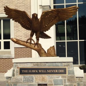 image of a hawk statue from campus