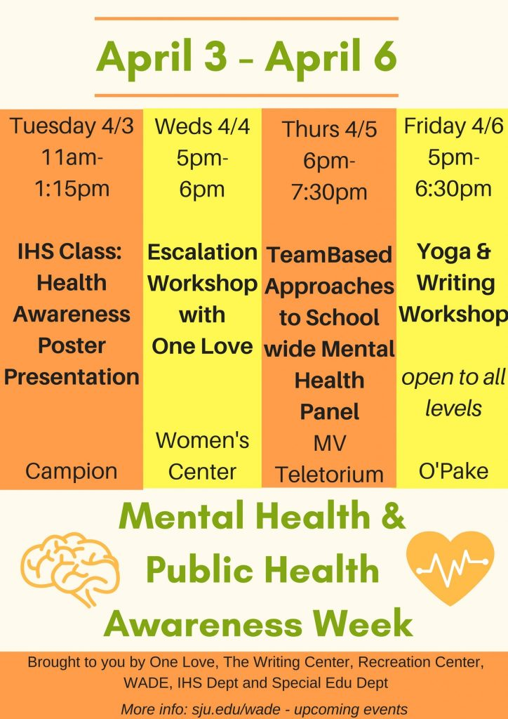 Tuesday April 3rd IHS Class Health Awareness Poster Session Click Here For More Info