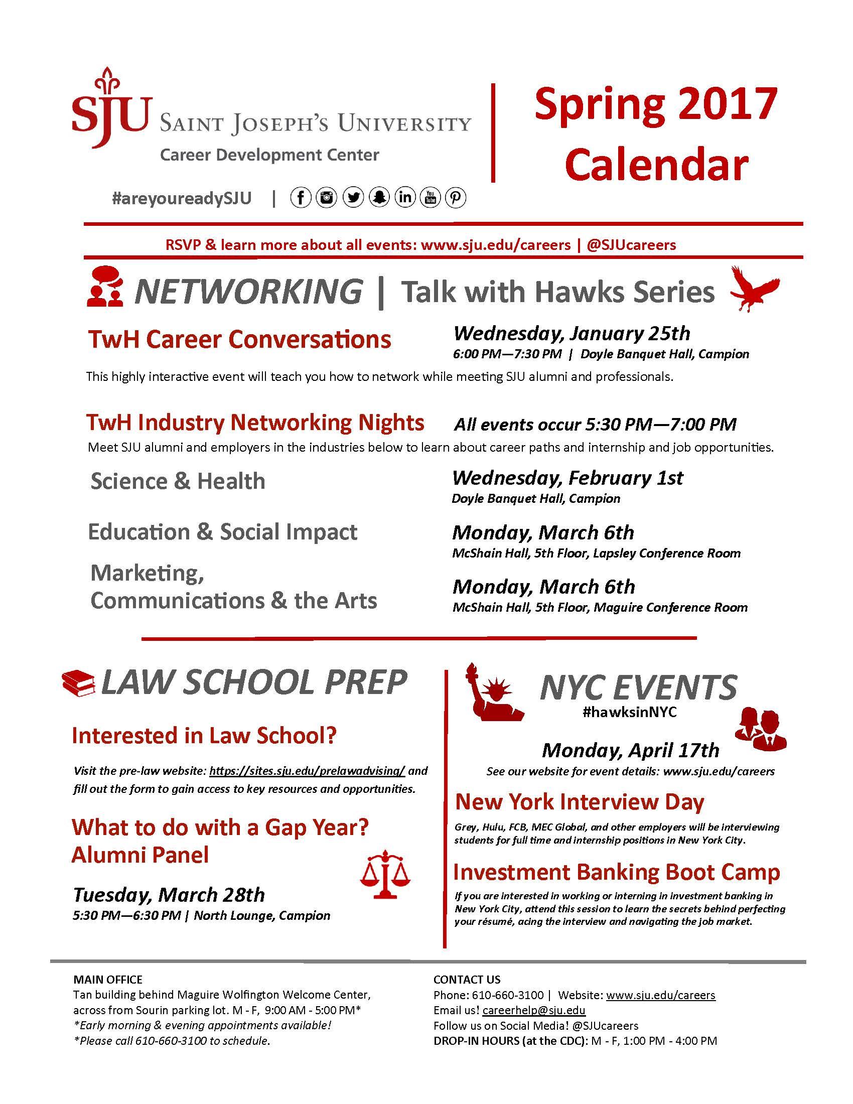 Sju Calendar.Spring 2017 Event Calendar Final Page 2 Graduate Writing Studies